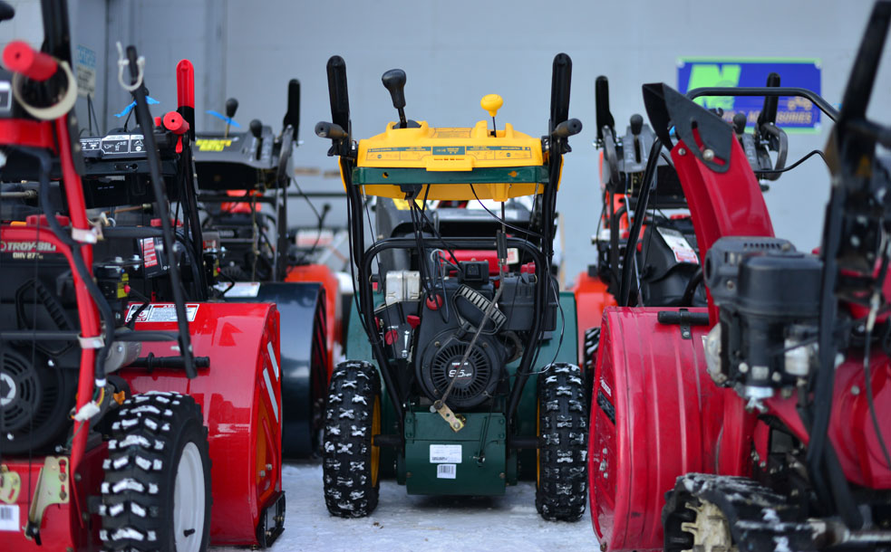 Eagle River Small Engine Repair always has a large selection of snowblowers and snow plows and provides snowblower repair as well